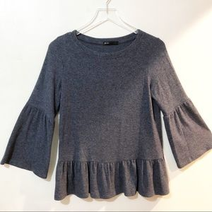 Gibson | Blue Knit Ruffled Sweater